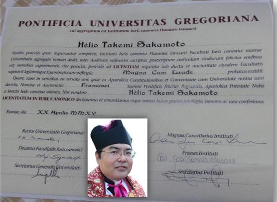 Padre Hélio Sakamoto, Mestre em Direito Canônico