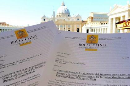 Carta de Francisco para o Encontro Mundial das Famílias 2018