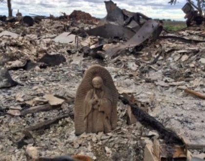Só uma imagem da Virgem de Guadalupe se salva...