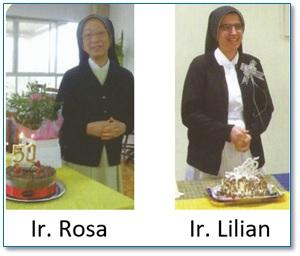 JUNSHIN: Jubileu de Ouro da vida consagrada de Irmã Rosa Mifuyu Tsukamoto e Jubileu de Prata da Irmã Lilian Subtil
